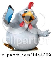3d Chubby White Chicken Walking And Talking On A Smart Phone On A White Background