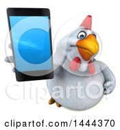 3d Chubby White Chicken Holding Up A Cell Phone On A White Background