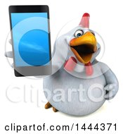 3d Chubby White Chicken Holding Up A Smart Phone On A White Background