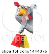 3d Chubby White Chicken Holding Shopping Bags Around A Sign On A White Background
