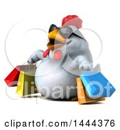 3d Chubby White Chicken Carrying Shopping Bags On A White Background