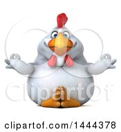 Clipart Of A 3d Chubby White Chicken Meditating On A White Background Royalty Free Illustration