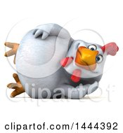 Clipart Of A 3d Chubby White Chicken Resting On His Side On A White Background Royalty Free Illustration