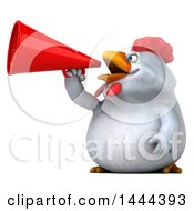3d Chubby White Chicken Announcing With A Megaphone On A White Background
