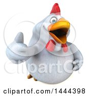 Clipart Of A 3d Chubby White Chicken Holding Up A Thumb On A White Background Royalty Free Illustration