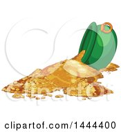 Clipart Of A Tipped St Patricks Day Cauldron Of Gold Coins Royalty Free Vector Illustration