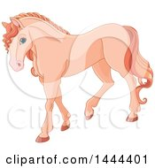 Clipart Of A Cute Pastel Salmon Orange Horse Walking Royalty Free Vector Illustration