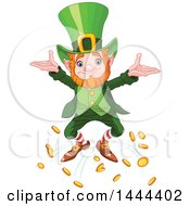 Clipart Of A St Patricks Day Leprechaun Dropping Coins Royalty Free Vector Illustration by Pushkin