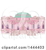 Clipart Of A Pink Palace Exterior With A Green Dome Royalty Free Vector Illustration