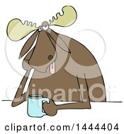 Clipart Of A Cartoon Depressed Moose Sitting With A Cup Of Coffee Royalty Free Vector Illustration