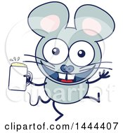 Cartoon Happy Mouse Mascot Character Holding A Beer