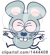 Cartoon Celebrating Mouse Mascot Character
