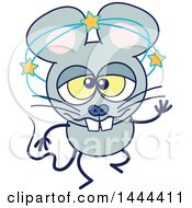 Cartoon Dizzy Or Drunk Mouse Mascot Character