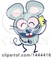 Cartoon Chatty Mouse Mascot Character Talking On A Cell Phone