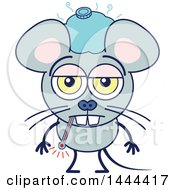 Clipart Of A Cartoon Sick Mouse Mascot Character Royalty Free Vector Illustration