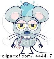 Cartoon Sick Mouse Mascot Character