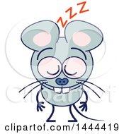 Cartoon Mouse Mascot Character Sleeping Upright
