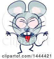 Clipart Of A Cartoon Vomiting Mouse Mascot Character Royalty Free Vector Illustration by Zooco