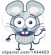 Cartoon Waving Mouse Mascot Character