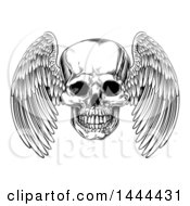 Black And White Woodcut Etched Or Engraved Winged Human Skull