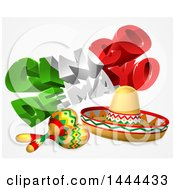 Clipart Of A 3d Mexican Flag Colored Happy Cinco De Mayo Text Design With A Sombrero And Maracas Royalty Free Vector Illustration by AtStockIllustration
