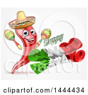 Clipart Of A 3d Mexican Flag Colored Happy Cinco De Mayo Text Design With A Chili Pepper Mascot Holding Maracas Royalty Free Vector Illustration by AtStockIllustration