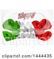 Clipart Of A 3d Mexican Flag Colored Happy Cinco De Mayo Design Royalty Free Vector Illustration