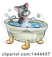 Cartoon Happy Cat Sitting In A Bath Tub