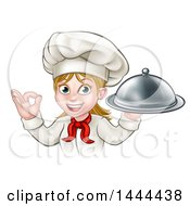 Clipart Of A Cartoon Happy White Female Chef Holding A Cloche Platter And Gesturing Ok Royalty Free Vector Illustration