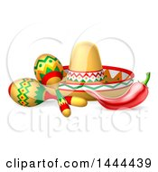 Clipart Of A Cinco De Mayo Design With A Chili Pepper Maracas And Mexican Sombrero Royalty Free Vector Illustration