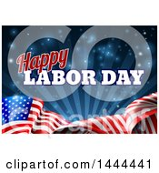 Poster, Art Print Of 3d Waving Long American Flag With Rays And Flares Under Happy Labor Day Text