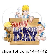 Clipart Of A Group Of Workers Around A Happy Labor Day Sign Royalty Free Vector Illustration by AtStockIllustration