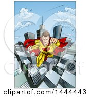 Clipart Of A Pop Art Comic Caucaslan Male Super Hero Flying Forward Over A City Royalty Free Vector Illustration