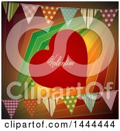 Red Valentine Love Heart Over Colorful Stripes With Party Bunting Banners