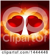Clipart Of Two Red Love Hearts Over Flares Royalty Free Vector Illustration by elaineitalia