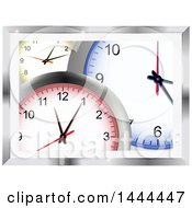 Clipart Of A Background Of 3d Yellow Red And Blue Wall Clocks In A Metallic Frame Royalty Free Vector Illustration by elaineitalia