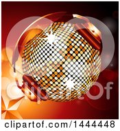 Clipart Of A 3d Golden Disco Ball With Headphones Over A Star And Flare Background Royalty Free Vector Illustration