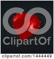 3d Red Love Heart Over Black Honeycomb Metal
