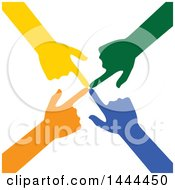 Clipart Of A Group Of Colorful Hands Pointing To A Central Spot Royalty Free Vector Illustration