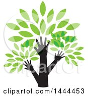 Clipart Of A Tree With Green Leaves And Hand Trunks Royalty Free Vector Illustration