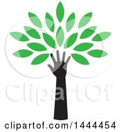 Clipart Of A Tree With Green Leaves And A Hand Trunk Royalty Free Vector Illustration