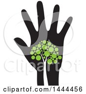 Clipart Of A Tree With Green Leaves On A Hand Royalty Free Vector Illustration