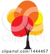 Clipart Of A Tree With Colorful Autumn Foliage Royalty Free Vector Illustration