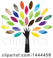 Clipart Of A Tree With Colorful Leaves And An Arm Royalty Free Vector Illustration