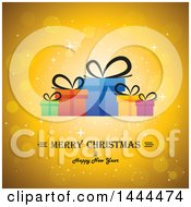 Clipart Of A Merry Christmas And Happy New Year Greeting With Gifts On A Golden Background Royalty Free Vector Illustration by ColorMagic