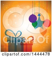 Clipart Of Christmas Ornaments Hanging Over Gifts Royalty Free Vector Illustration by ColorMagic