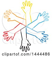 Clipart Of A Circle Of Colorful Outlined Arms Royalty Free Vector Illustration