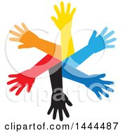 Clipart Of A Circle Of Colorful Arms Royalty Free Vector Illustration