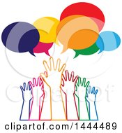 Poster, Art Print Of Group Of Colorful Hands Reaching For Help Under Speech Bubbles