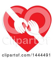 Poster, Art Print Of Red Heart With Hands Reaching